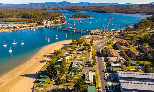 Drone photo taken at the far end of the Caravan park along the beach.
