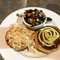 Crabcake sandwich with bean salad