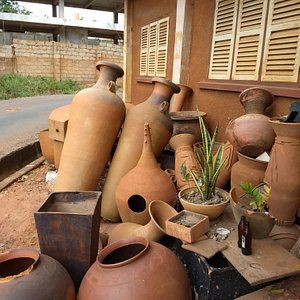 in front of the showroom...kiln dried pieces before they are painted and otherwise ornamented