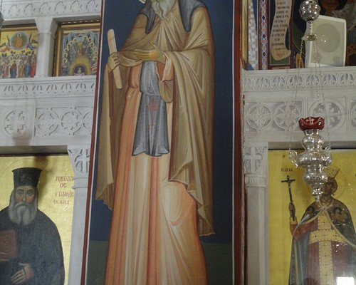 A wall-painting depicting St. Nicodemus of Mount Athos.
