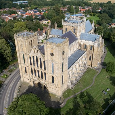 Ripon Cathedral from the air - view of 'the finest Early English West Front in the country'