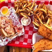 Lobster roll, fish and chips, fries, ocean view, water view, outdoor seating