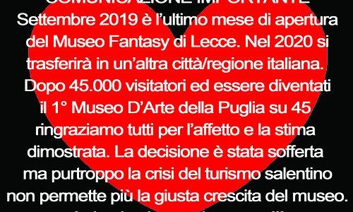 chiusura museo per trasferimento in un'altra città italiana
