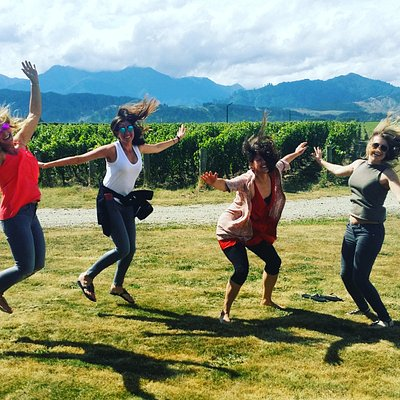 "Everyone is just so excited to be with Hop 'n Grape Wine Tours... that they can't help but ""jump in a vineyard""!"