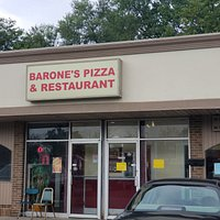 front of & entrance to Barone's Pizza & Restaurant