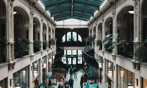 Interior shot of Grove Arcade's northern hall