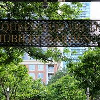The Queen Elizabeth II Jubilee Garden, entrance signage at Celebration Square