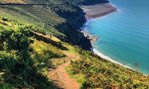 Stunning views from the South West Coast Path along Countisbury Hill towards Lynton & Lynmouth.