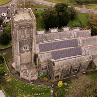 This drone shot allows you to see the 15 kWh solar panel array on the church roof, which are invisible from the ground.