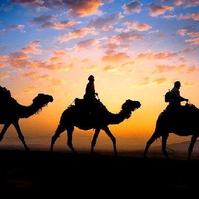 Paseo con dromedarios y noche en jamas de lujo en el desierto de Merzouga sur de Marruecos