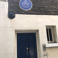 Street sign, the oldest residential property in the City and the John Betjeman blue plaque