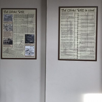 Information boards inside the building and on the pavement outside