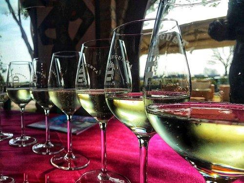 """Degustazione di vini di nostra produzione in abbinamento a fragranti specialità locali quali Prosciutto San Daniele e Formaggio Montasio dolce tipico """"Gubana"""" con grappa di nostra produzione"""