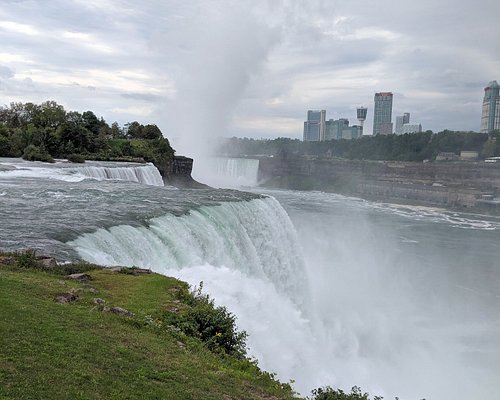 Both halves of the falls