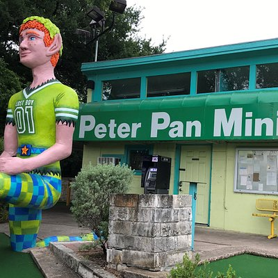 Our iconic Peter Pan overlooks our pretty courses and greets our visitors coming up the steps!
