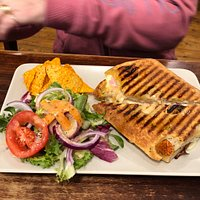 Cheese and ham panini and beef lasagne
