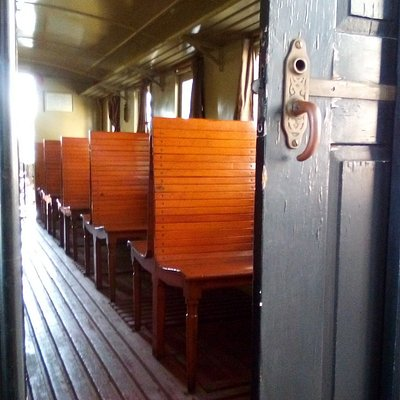 Passenger carriage in the new railway museum in Braganca