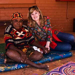 Gallery owner Alesha (left) with an artist she visited in the Utopia region of the Northern Territory in 2006