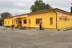 Veľký Kýr - Local supermarket in Veľký Kýr which is a small village in the municipality in the Nové Zámky District in the Nitra Region of south-west Slovakia