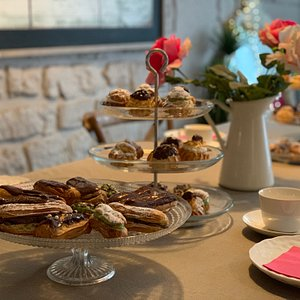 Teatime with Chocolate Eclairs and cream puffs