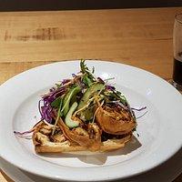 Chimichanga with tandoori chicken, bacon, mushrooms, mozzarella & ranch dressing ..$22