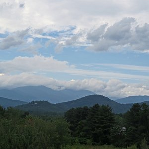 Mt Washington looms in the distance at the Scenic Vista Visitor's Center in Intervale, NH.
