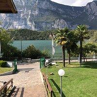 Blick von der Terrasse auf den See.