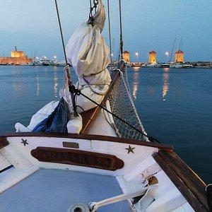 Vikings Classic Sailing boat in the Mandraki Harbour
