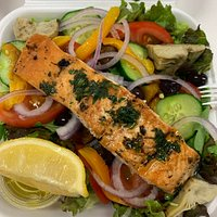 Delicious grilled salmon take out