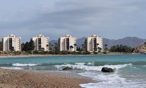 The apartments at the Isla Plana end of Playa El Mojon