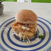 A lovely calamari burger