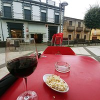 Outside area of Bar El Pub.  They have a few selections of wine by the glass and they gave me popcorn to much on.
