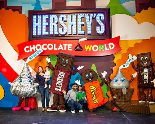 Hershey's Chocolate World lobby welcome wall.