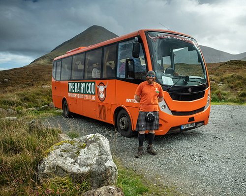 One of our bright orange buses! Hard to miss