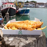 Our large 'Cod & Chips' sat on Weymouth's beautiful harbourside