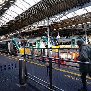 Trains waiting.