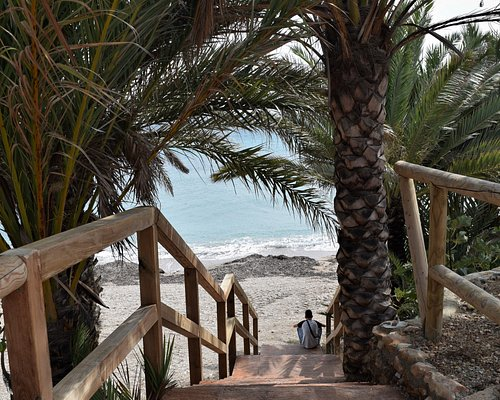 The steps from the car park to the beach at Playa de la Raja