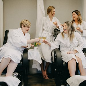 Our pedicure theater can accommodate four pedicures at one time. Perfect for group events!