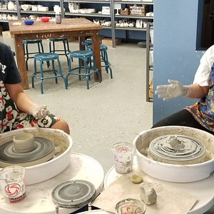 Pottery throwing on the wheel. $35 for wheel use. Includes first pound of clay. Need instruction? Call us to schedule a one on one or two class. Only $50 per person.