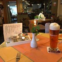 Cheery table setting, good beer!
