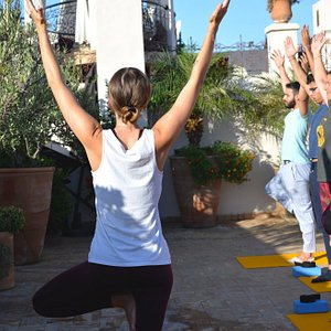 Amani Yoga Shala at Palais Amani, yoga classes in Fez a perfect way to start your day! Sun salutations on the roof top at Palais Amani