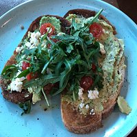 The Lookout Cafe Echo Point - smashed avo on toast - very tasty
