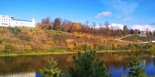 Осенний пейзаж. Вид из окна на левый берег Волги