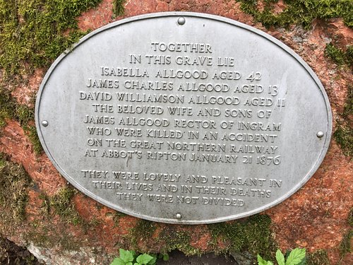 17.  St Michaels and All Angels Church, Ingram; the headstone of Isabella Allgood and her sons, James and David