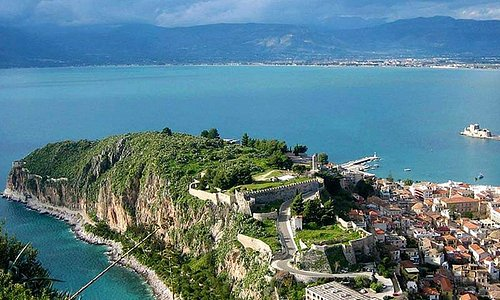 Visit Nafplion,the first capital of the Hellenic Republic, with TSquared: Palamidi Venetian fortress  Bourtzi castle