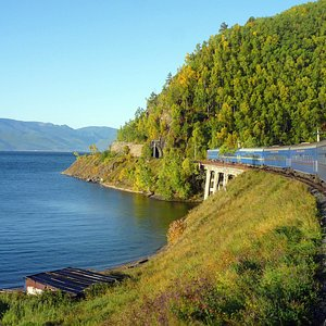 The Golden Eagle train at Lake Baikal on our classic Trans-Siberian Express trip.