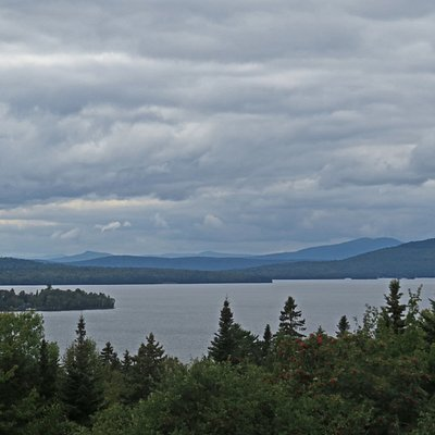 Looking westward across Rangeley Lake from a turnout on ME 4 in Dallas Plantation on the Rangeley Lakes National Scenic Byway.