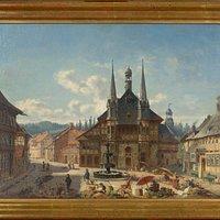 Eine Ansicht des Wernigeröder Marktplatzes aus dem 19. Jahrhundert (Maler: Christian Wilberg, 1867)
