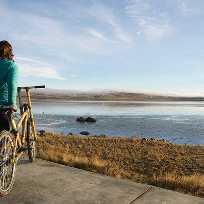 Disfrutando paisaje Lago Argentino y flamencos en una Bambú Bike!!!