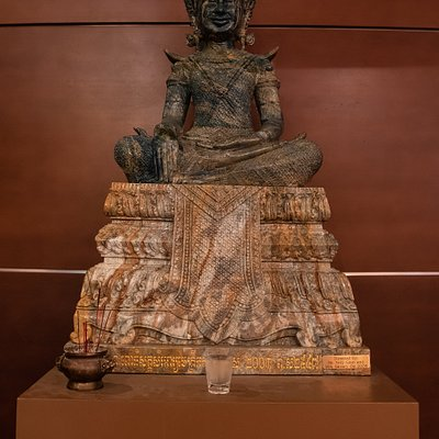 A Buddha statue from Cambodia near the entrance to the Killing Fields Memorial in the museum.